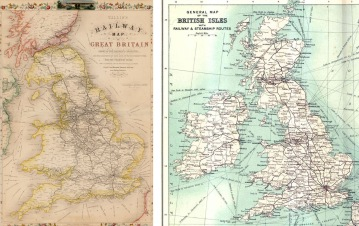 3. Railway maps of England in 1850 (left) and Britain in 1900 (right)