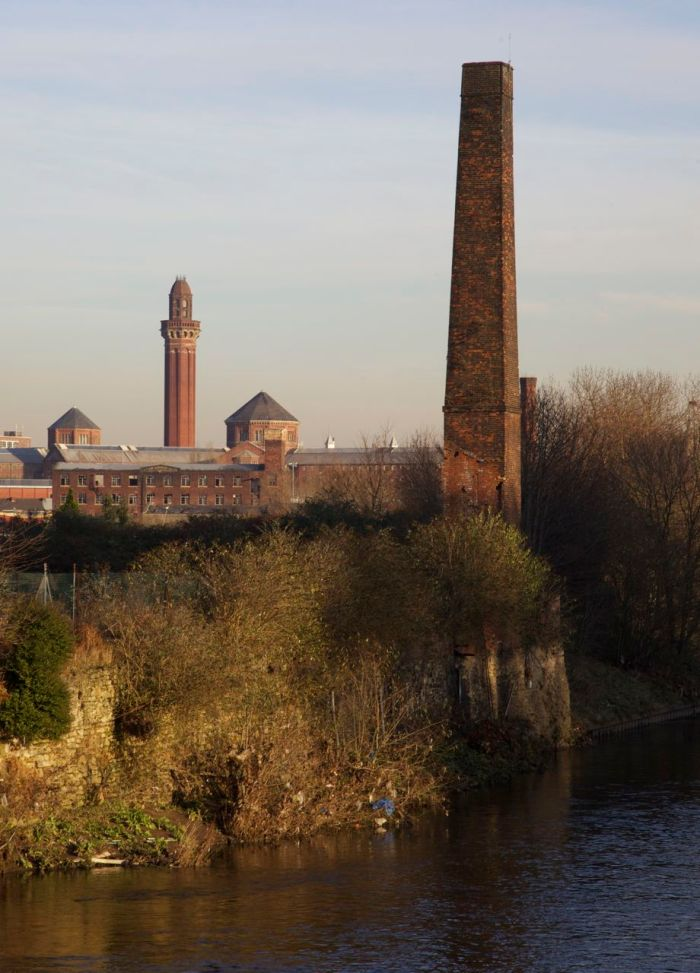 4. An abandoned mill and Strangeways Prison behind, from the Broughton bridge over the river Irwell