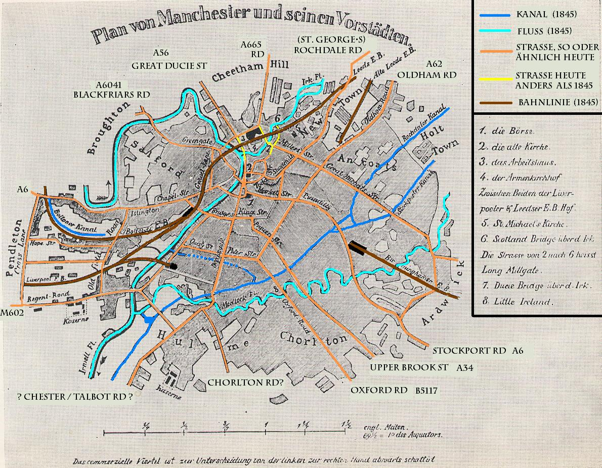 2. 1844 map of Manchester and Salford included in Engels's 'The Condition of the Working Class in England'