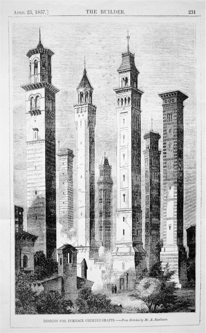 1. Robert Rawlinson's fantastical array of industrial chimneys as seen in The Builder, 25 April 1857, p. 23.