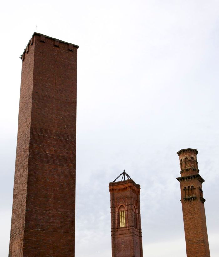 5. Tower Works, Leeds showing the three chimneys based on Italian towers.