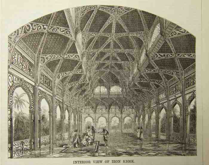 5. Interior of the iron kiosk for export to Bombay, The Builder, 1866.