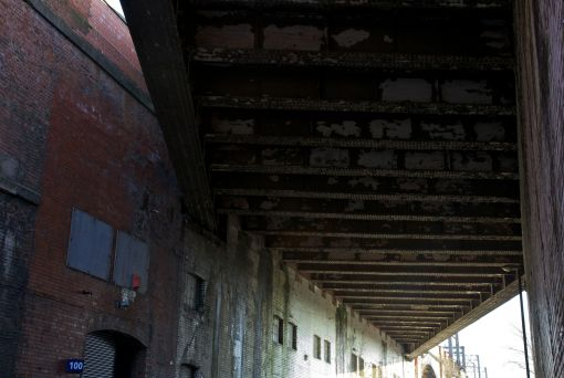 7. Underneath the second viaduct spanning Temperance Street.