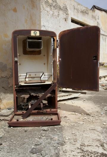 8. Rusting 1970s fridge on a rooftop terrace in Varosha