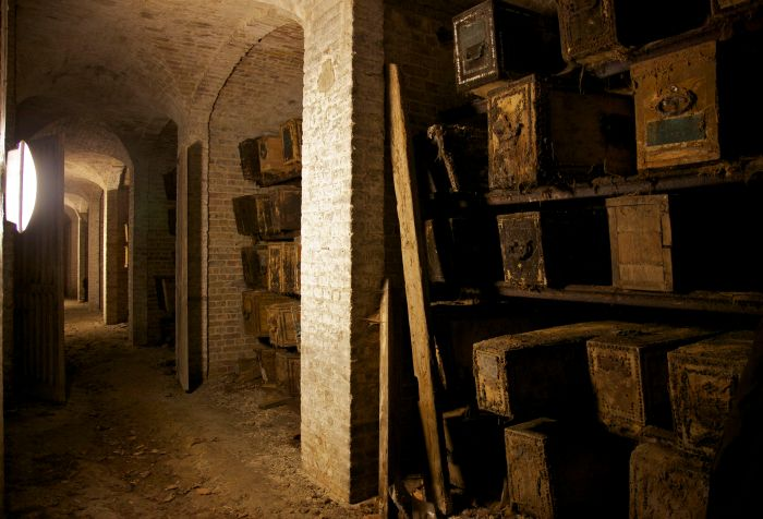 Recesses for housing coffins in the West Norwood catacombs, London
