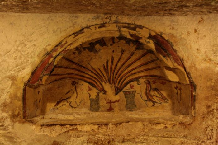 7. Christian wall painting, c.3rd century, St Paul's Catacombs, Malta