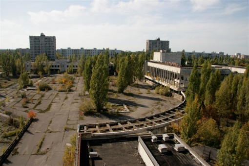 Pripyat from the roof of the former Polissya Hotel