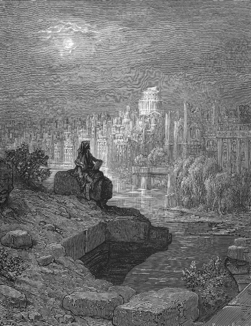 A New Zealander gazes at the ruins of Victorian London (in 'London: A Pilgrimage', 1874)