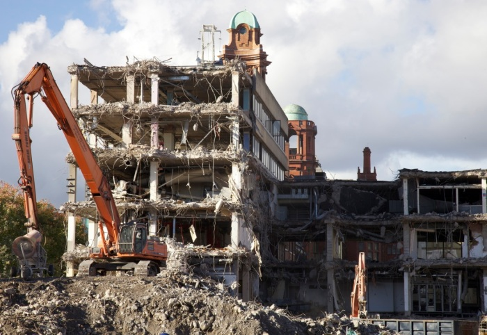 4. Demolition of the BBC building on Oxford Road, Manchester in October 2012.