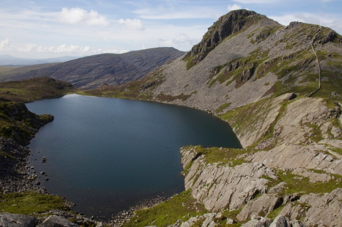 Llyn Hywel and Rhinog Fach from the slopes of Y Llethr