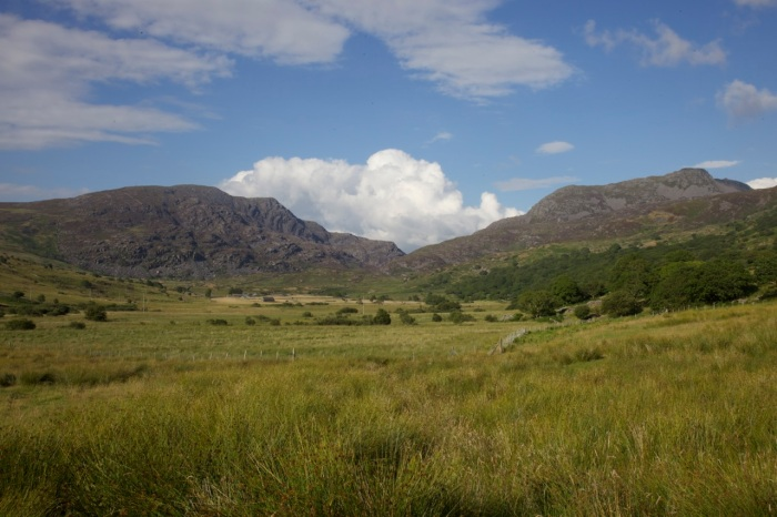 Rhinog Fawr (left) and Rhinog Fach (right) from Cwm Nantcol