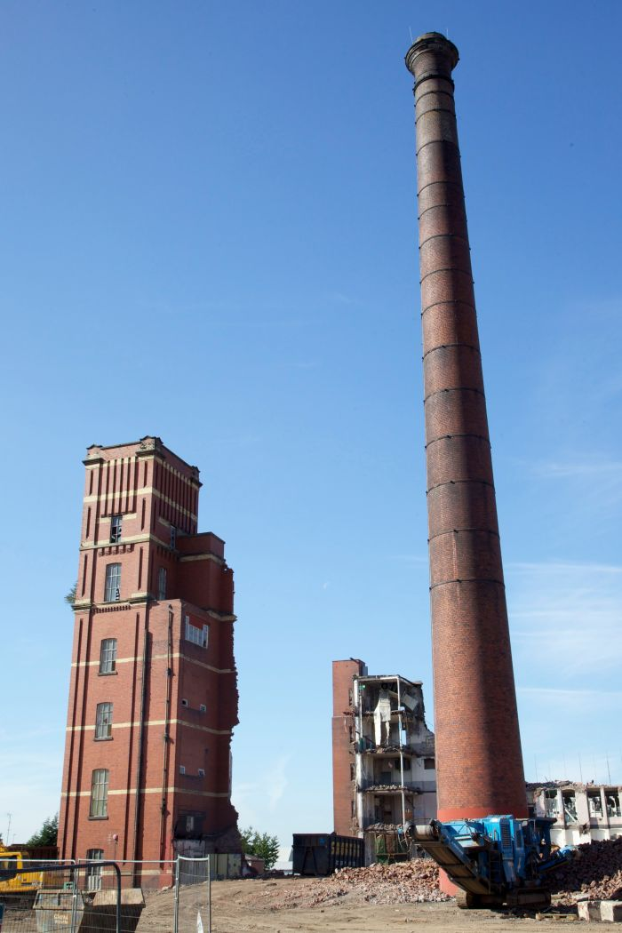 Demolition of Oldham Twist Mill (1883), September 2013.
