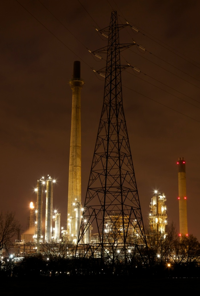 1. Stanlow oil refinery by night