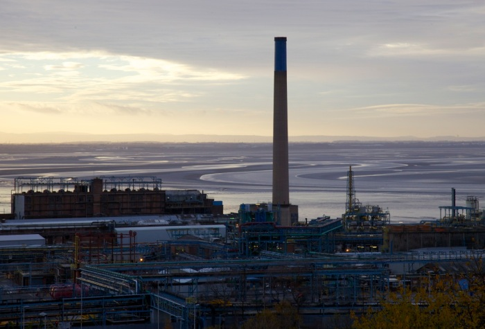 3. Castner Kellner chemical works with the River Mersey beyond.