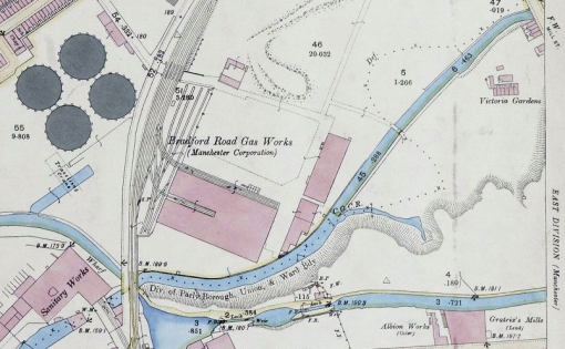 1893 Ordnance Survey map of Manchester showing the River Medlock in Clayton