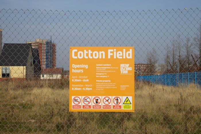 'Cotton Field', the privately owner land that used to be the Cardroom Estate, an area of social housing.