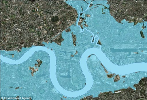 Map issued by the Environment Agency showing the flooding of London due to future tidal surges