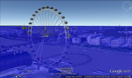 Google Earth Design (2011), London under 80m of water