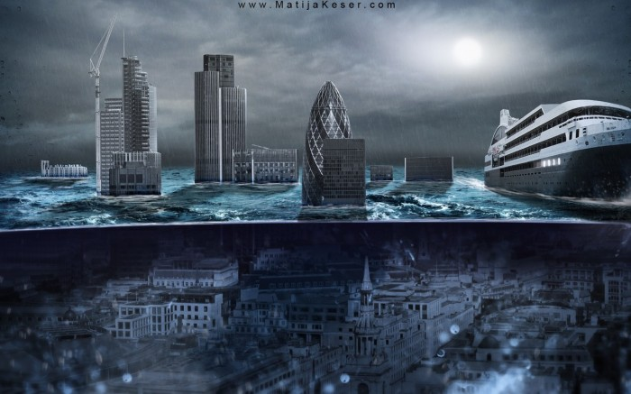 Matija Keser, London Underwater, post-apocalyptic wallpaper
