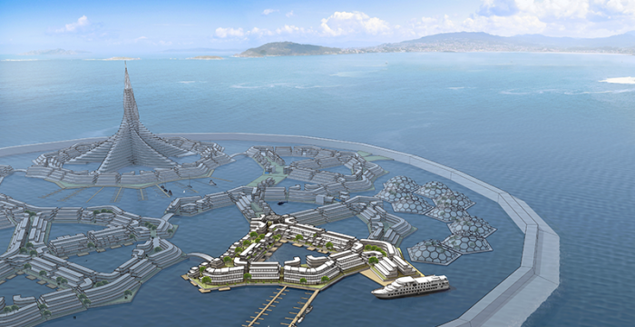DeltaSync's floating city design for the Seasteading Institute, 2015