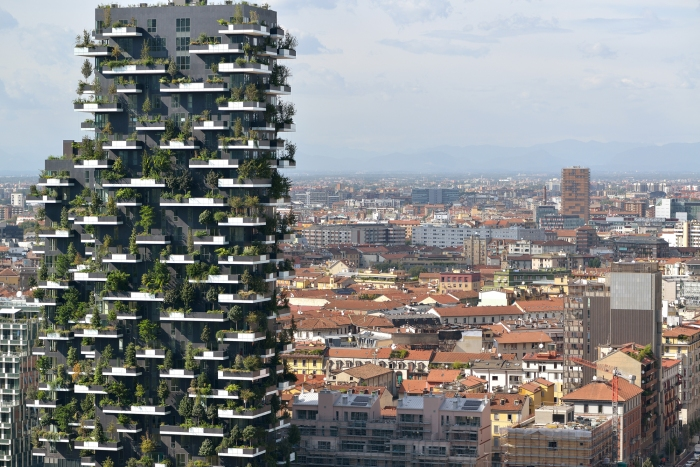 One of Stefano Boeri's 'vertical forest' buildings in Madrid, completed in 2014