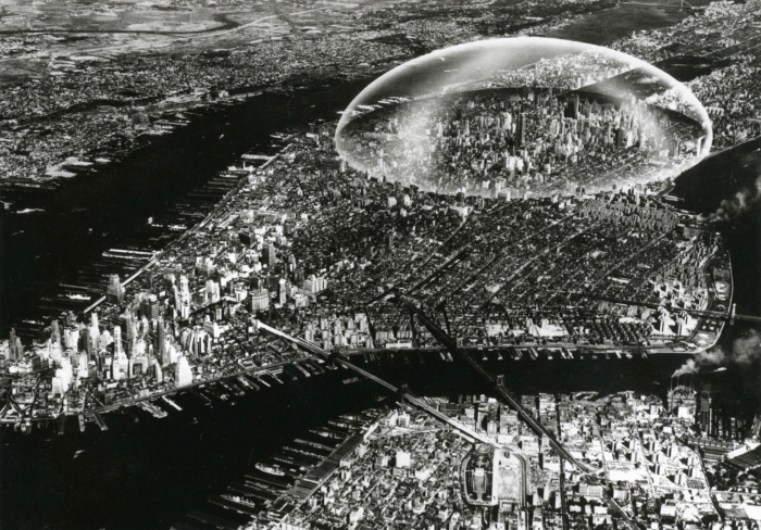 Buckminster Fuller's 1960 project for a 3km diameter dome to protect Manhattan from air pollution and to control its climate.