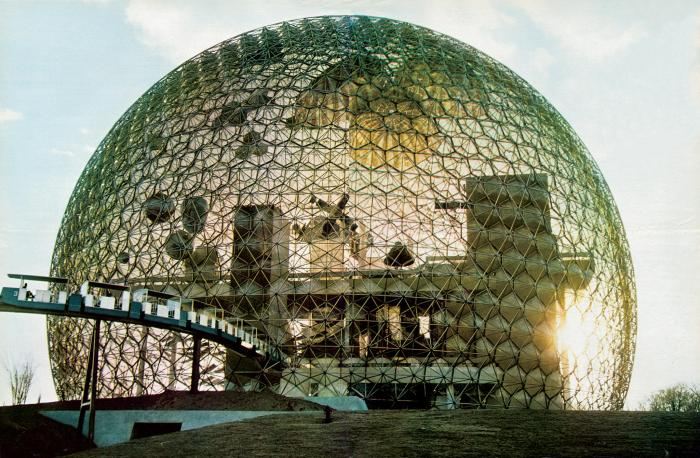 Buckminster Fuller's geodesic dome created for the 1967 Expo in Montreal.