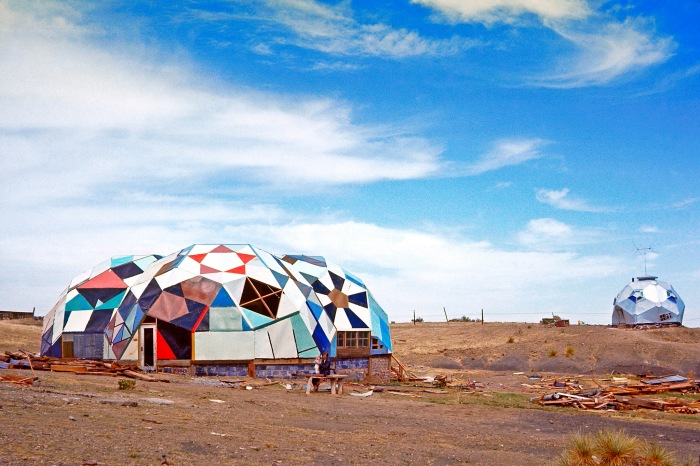 Geodesic structures in Drop City, a community formed in southern Colorado in 1965 but abandoned by the early 1970s.