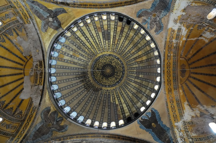 The central dome of the church of Haghia Sophia, Istanbul, completed in 537 CE, and converted into a mosque in 1453.