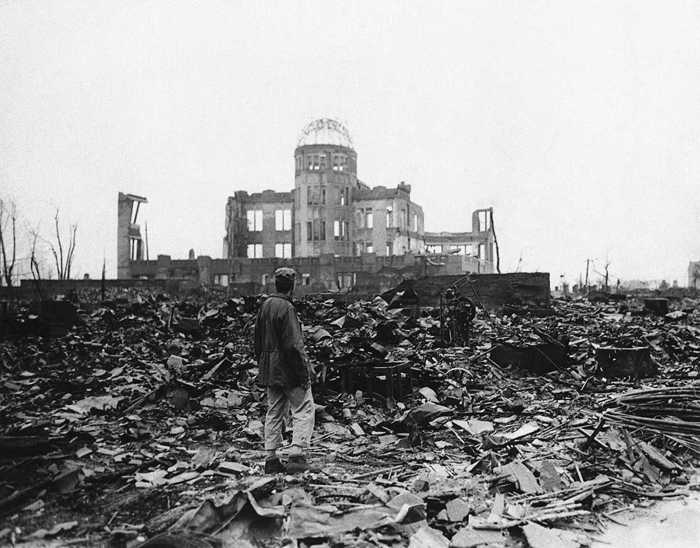 The remains of the Product Exhibition Hall (now the Peace Memorial) in Hiroshima in the immediate aftermath of the US-led atomic attack in August 1945.