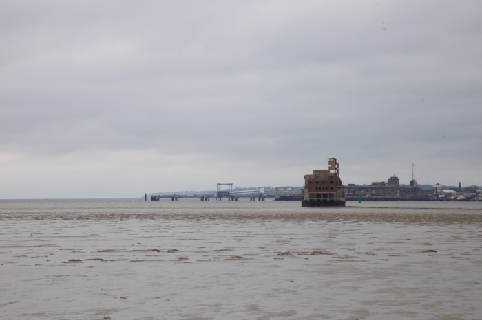 The Grain Tower at high tide from the mouth of the River Medway