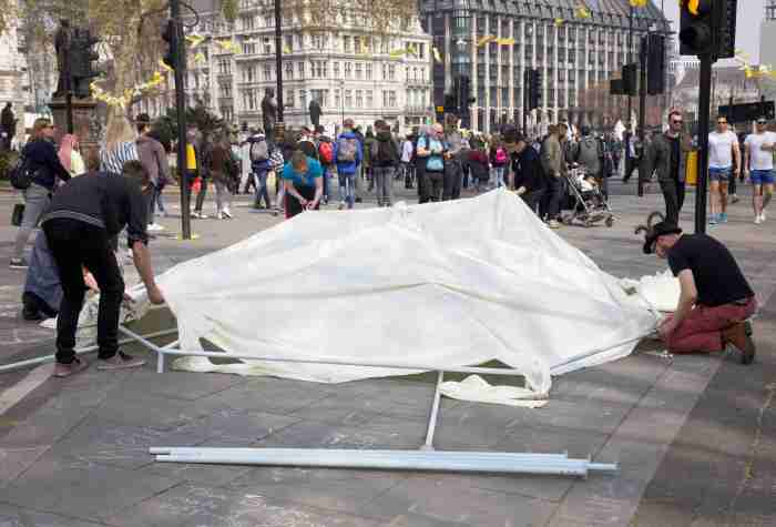 Exctinction Rebellion occupation, Parliament Square